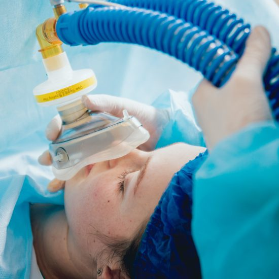 A female patient is having anesthesia before her surgery at BCT medical associate.